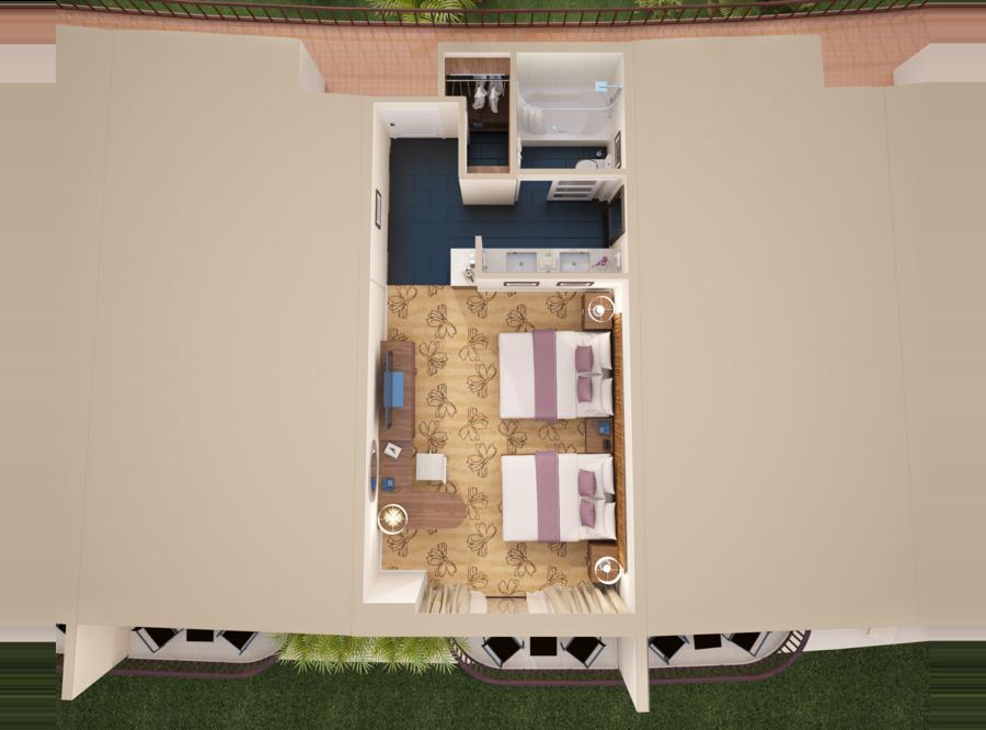マカイ オーシャン フロント クイーンベッド2台 3D間取り図